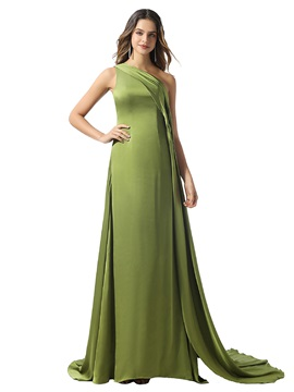 A-Line Watteau Train One Shoulder Evening Dress 2020