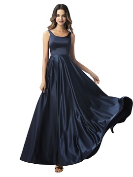A-Line Straps Sleeveless Long Bridesmaid Dress 2020