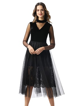 High Neck Lace Tea-Length Black Cocktail Dress 2020