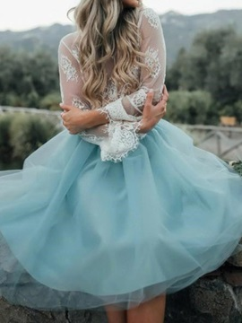 Lace Ball Gown Long Sleeves Tea-Length Formal Dress