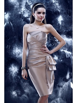 Elegant Sheath Pleats Knee-Length Strapless Tiered Yulia's Event Dress & Cocktail Dresses online