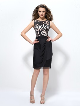 Fashion Office Lady Pattern Straps Sheath/Column Short Formal Dress & Cocktail Dresses under 100
