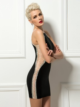 Sensual Sheath Jewel Neck Beading Short Black Cocktail Dress & unusual Cocktail Dresses