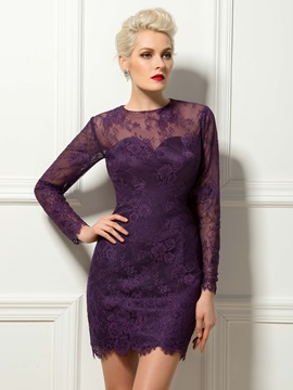 Timeless Lace Long Sleeves Sheath Short Cocktail Dress Designed & colored Cocktail Dresses