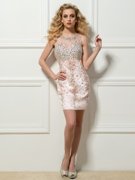 Great Round Neck Sheath Beading Crystal Button Short Cocktail Dress & Cocktail Dresses from china