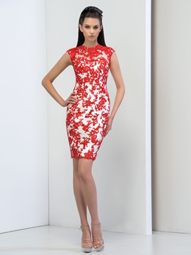 Modern Jewel Neck Sheath Appliques Button Short Cocktail Dress & vintage style Cocktail Dresses