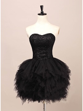 Cool Sweetheart Lace Beading Tiered Short Black Cocktail Dress & romantic Cocktail Dresses