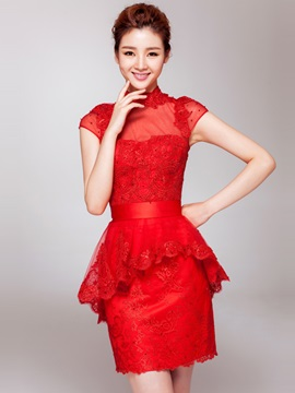 Fancy High Neck Lace High Neck Beading Short Red Cocktail Dress & fashion Cocktail Dresses