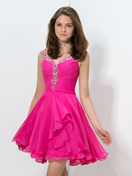 Delicate Straps Beaded Pleats Short Homecoming Dress & Cocktail Dresses from china