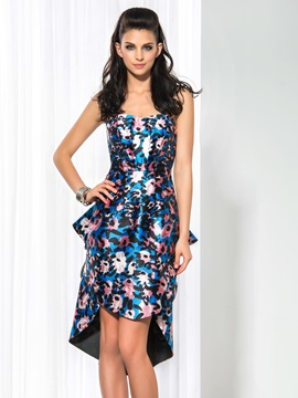 Fashion Sweetheart Column Floral Printed Ruffles Asymmetrical Cocktail Dress & Cocktail Dresses under 500