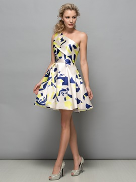 Attractive One Shoulder A-Line Print Cocktail Dress & discount Cocktail Dresses
