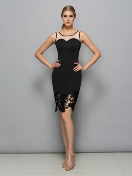 Chic Square Neck Lace Sheath Black Cocktail Dress & affordable Cocktail Dresses