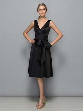 Cheap V-Neck Sashes Knee-Length Black Cocktail Dress & vintage Cocktail Dresses