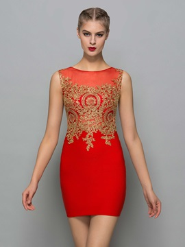 Sexy Scoop Neck Appliques Mini Red Cocktail Dress & Cocktail Dresses 2012