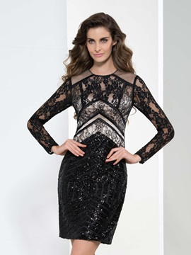 Formal Round Neck Long Sleeve Lace Sequin Cocktail Dress & elegant Cocktail Dresses