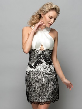 Sexy Halter Hollow Lace Short Column Cocktail Dress & Cocktail Dresses for sale