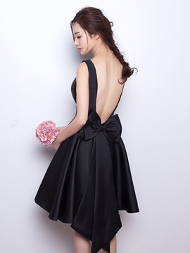 Scoop Neck Bowknot Backless Bridesmaid Dress