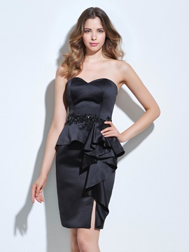 Sweetheart Appliques Beading Sheath Little Black Dress