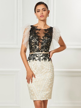 Unique Column Appliques Sashes Button Scoop Knee-Length Cocktail Dress