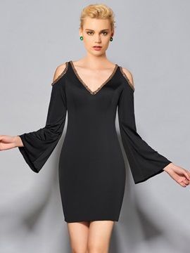 Fancy Sheath V-Neck Long Sleeves Beaded Short Cocktail Dress & modest Cocktail Dresses