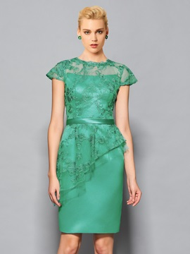 Elegant Column Appliques Cap Sleeves Jewel Neck Lace Sashes Knee-Length Cocktail Dress & Cocktail Dresses under 300