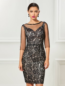 Bateau Sheath Button Lace Cocktail Dress