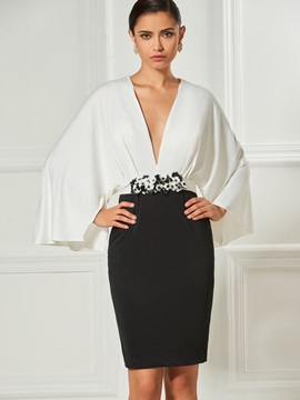 Chic V-Neck Sheath Long Sleeves Flowers Sashes Cocktail Dress