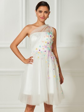 One-Shoulder Appliques Bowknot Flowers Cocktail Dress