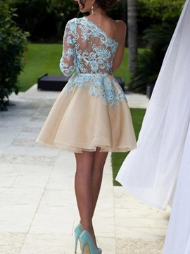 One-Shoulder Appliques A-Line Short Homecoming Dress