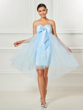 Sweetheart Bowknot Lace Asymmetry Cocktail Dress