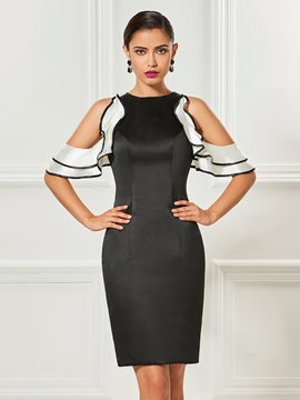 Open Shoulder Ruffles Sheath Black Cocktail Dress