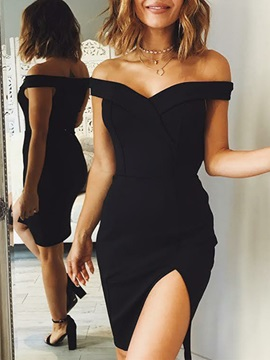 Off-the-Shoulder Sheath Split-Front Cocktail Dress