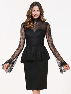 Unique High Neck Long Sleeves Lace Button Knee-Length Cocktail Dress & Cocktail Dresses online