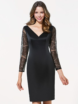 Timeless Long Sleeves V-Neck Sheath Lace Mini Cocktail Dress & Cocktail Dresses 2012
