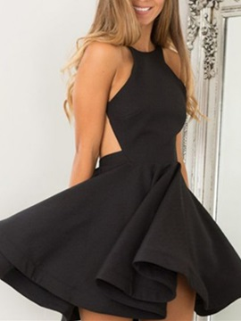 Modern Spaghetti Straps Backless Black Homecoming Dress