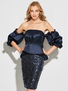 Vogue Sheath Sequins Long Sleeves Strapless Short Cocktail Dress