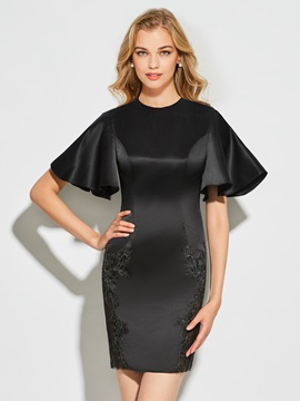 Jewel Sheath Scoop Appliques Mini Cocktail Dress