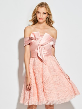 A-Line Bowknot Lace Off-the-Shoulder Mini Cocktail Dress