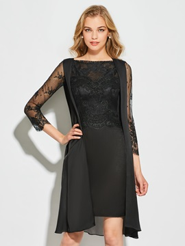 Elegant Long Sleeves Scalloped-Edge Sheath Knee-Length Cocktail Dress