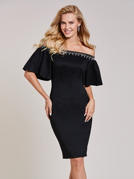Off-the-Shoulder Beaded Sheath Knee-Length Cocktail Dress & cheap Cocktail Dresses