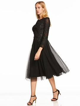 Scoop Neck Long Sleeves A Line Cocktail Dress