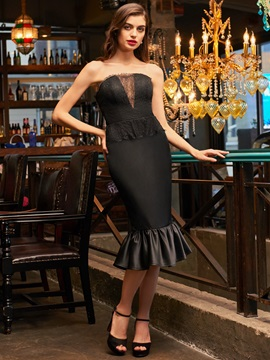 Strapless Sheath Lace Tea-Length Cocktail Dress & discount Cocktail Dresses