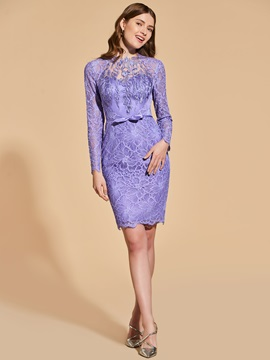 Sheath Lace Bowknot Empire Button Cocktail Dress