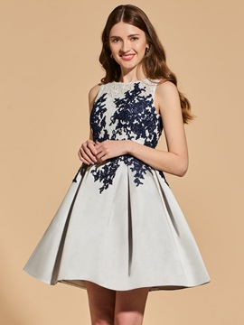 A-Line Appliques Lace Button Cocktail Dress