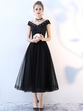 A-Line Beading Lace Tea-Length Cocktail Dress