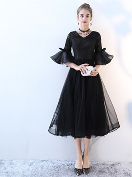 Bowknot Lace Half Sleeves Black Cocktail Dress