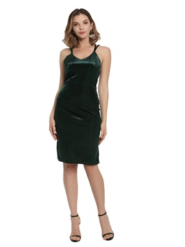 Spaghetti Straps Velvet Sheath Cocktail Dress
