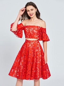Two Pieces Off-the-Shoulder Lace Homecoming Dress