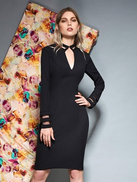 Knee-Length Sheath V-Neck Long Sleeves Cocktail Dress