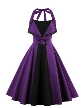 Knee-Length A-Line Purple Halter Cocktail Dress